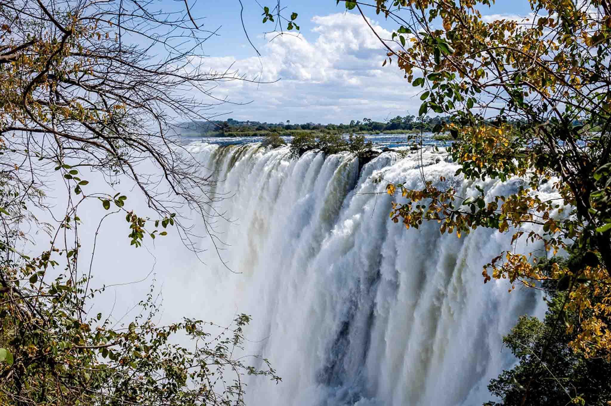 Huge water flow at Victoria Falls waterfall