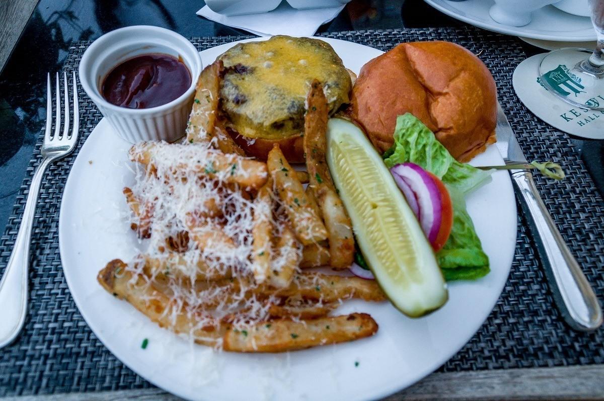 The hamburger and fries at Fossett's Bar