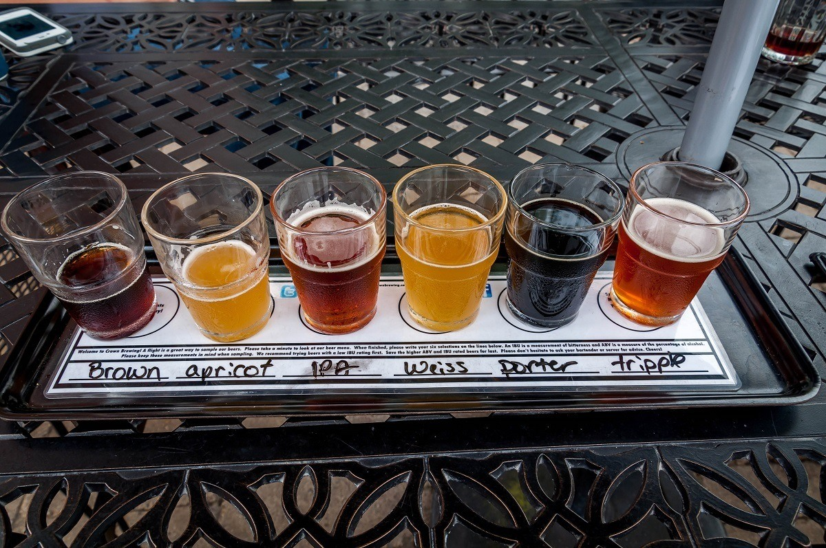 Beer tasting flight at the Crown Brewery on the South Shore Brewery Trail