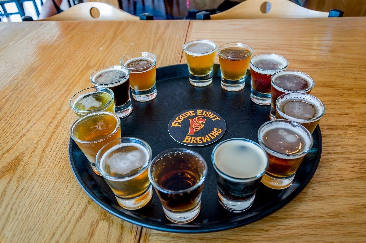 The beer tasting flight at Figure Eight Brewery
