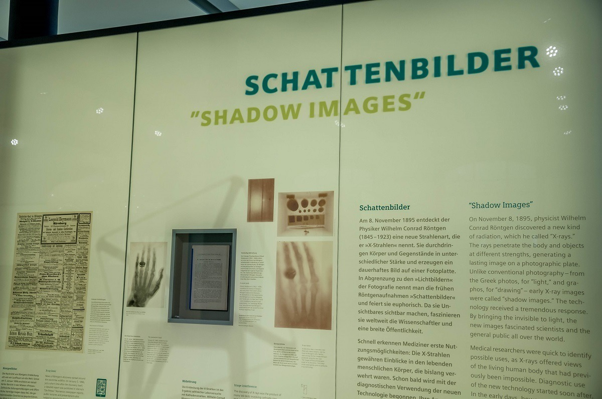 Panel at the Med Museum explaining X-ray Shadow Images