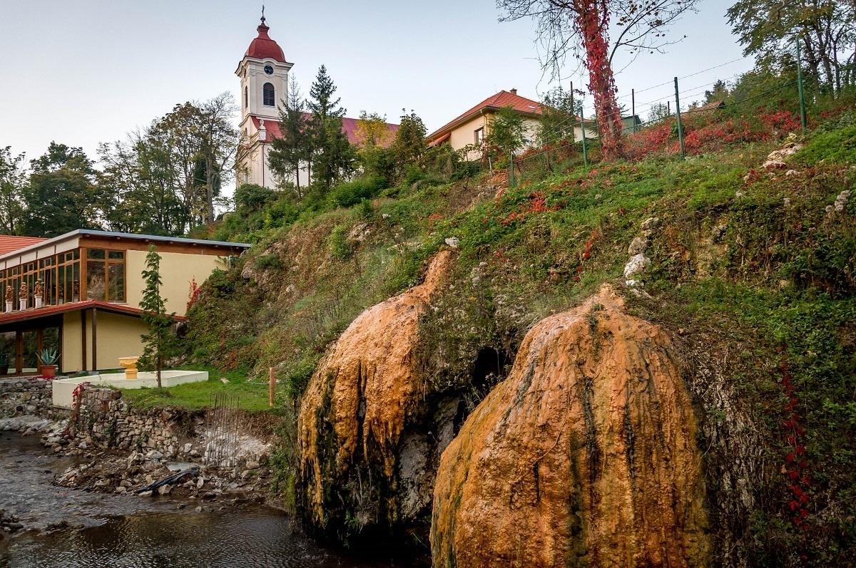 Natural hot springs formations in Sklene Teplice, Slovakia