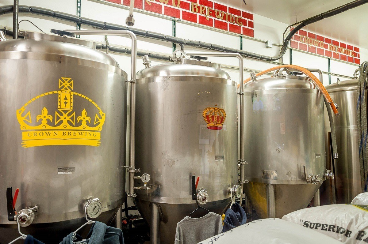 The fermentation tanks at Crown Brewery