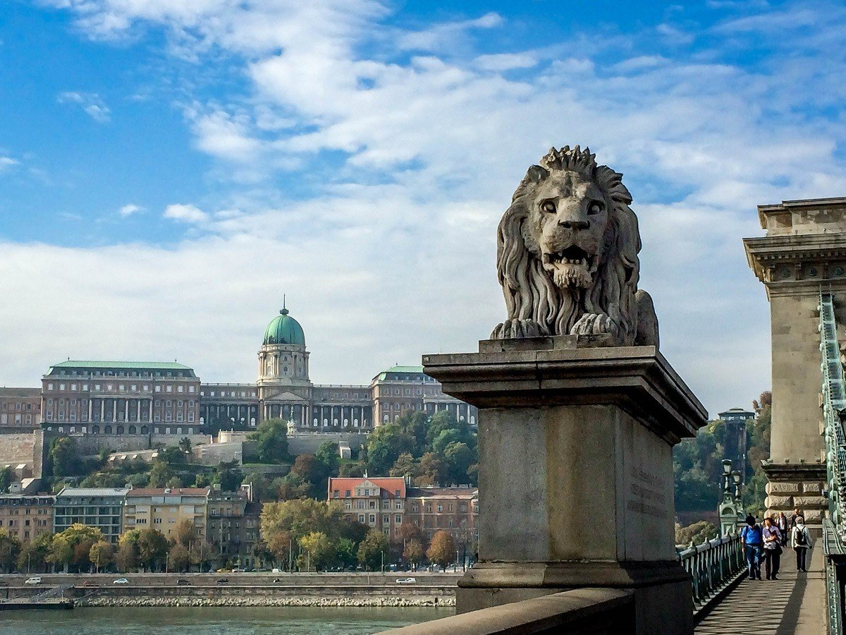 The Lions on the Chain Bridge, with Castle Hill and the Budapest funicular in the background