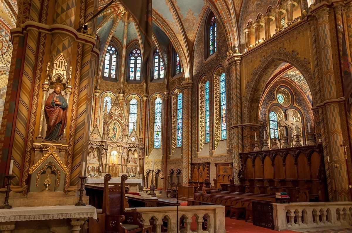 The ornate interior of the St. Matthias Church in Budapest