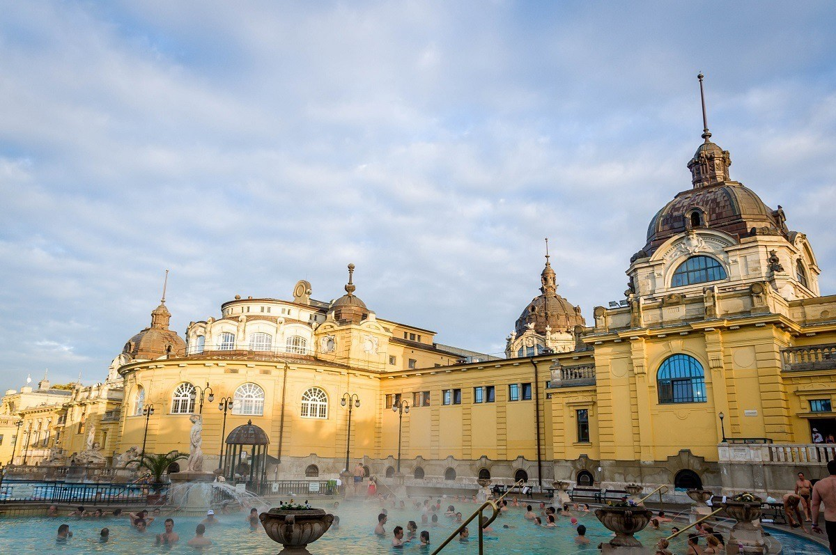 The outdoor pool at the yellow Szechenyi Baths