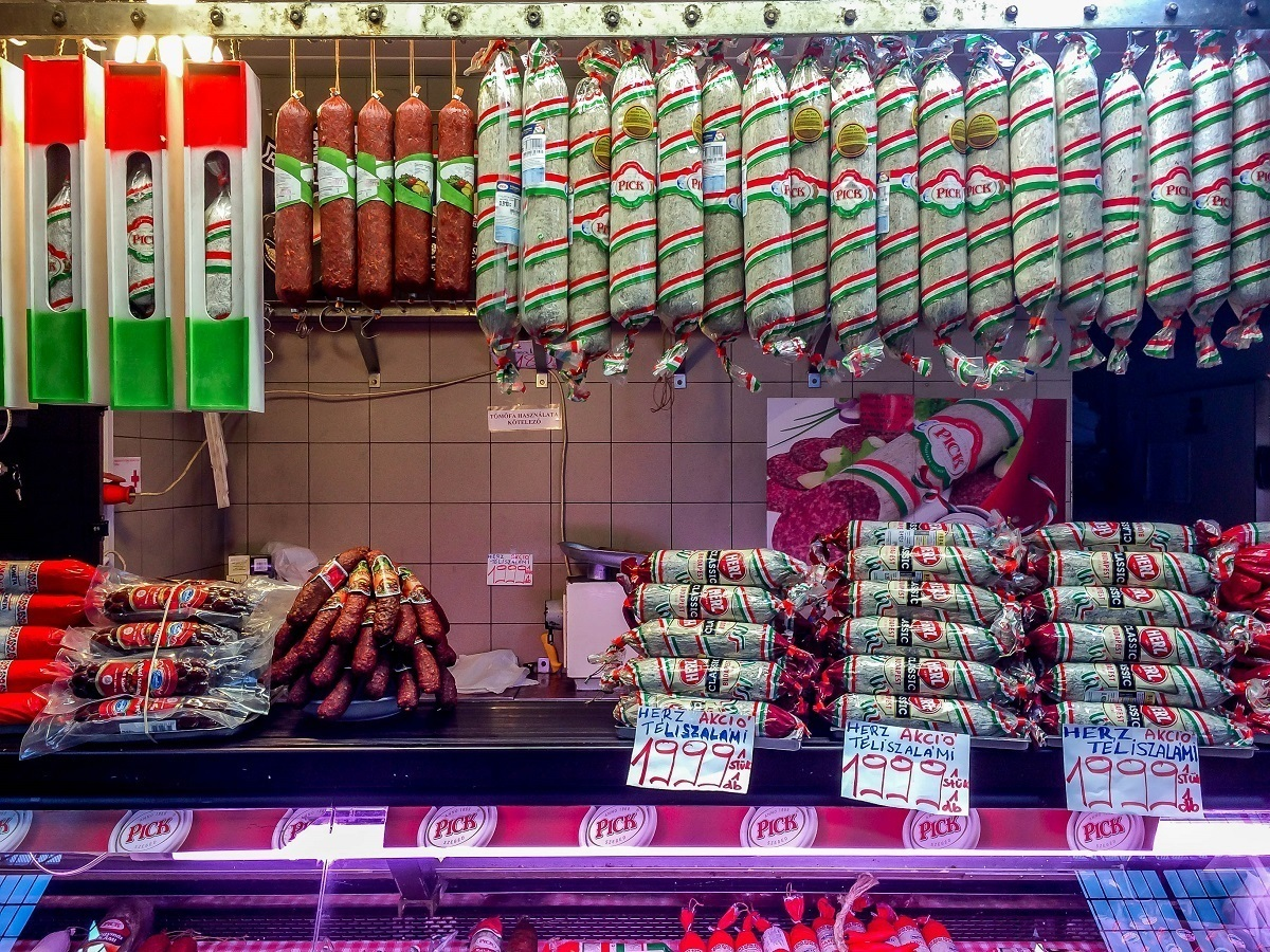 Stall selling sausages, salami and charcuterie in Budapest's Central Market