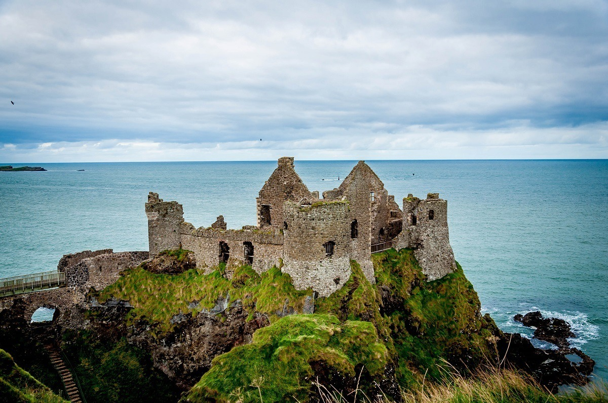 Ruins of the Dunluce Castle on the Antrim Coast Road in Northern Ireland