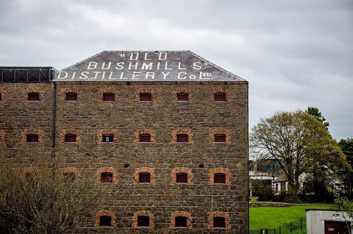 The grain building at the Old Bushmills Distillery in Northern Ireland