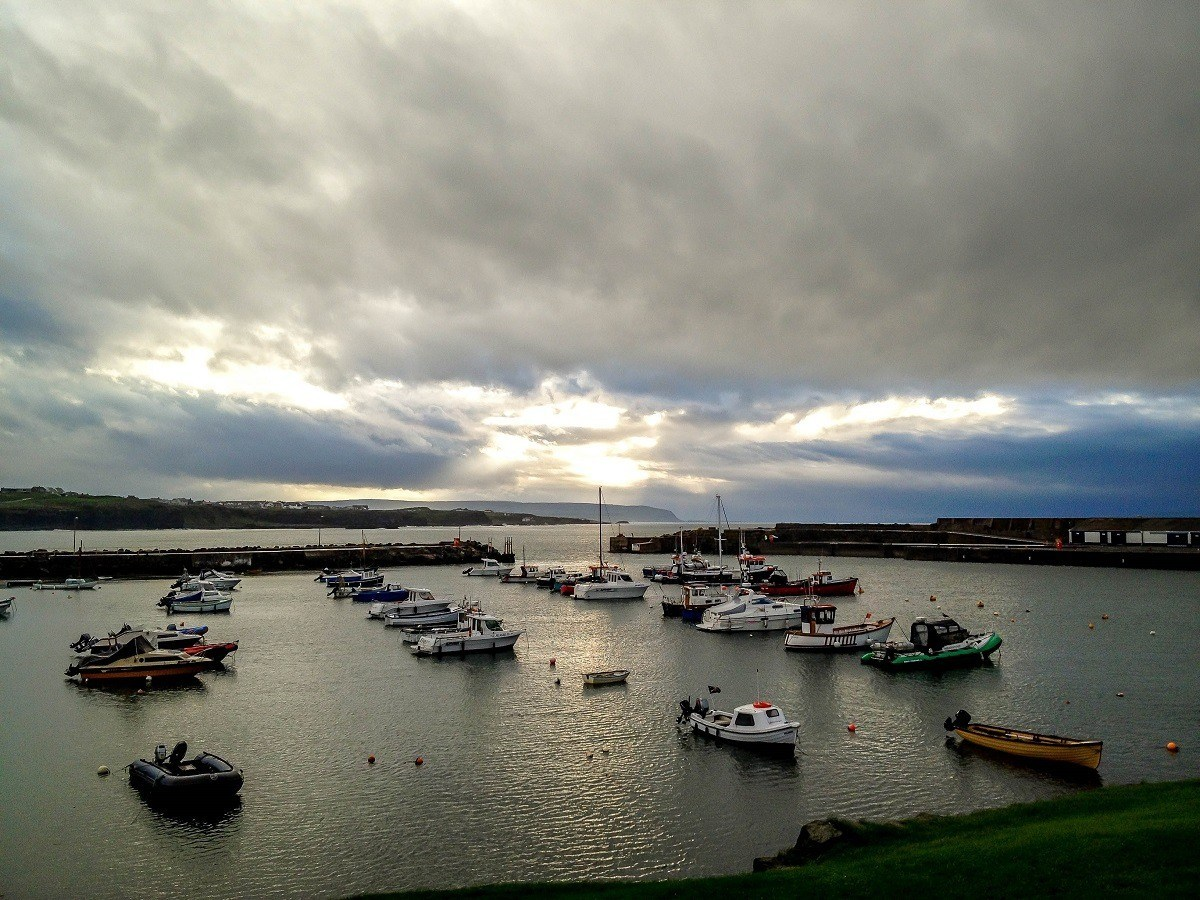 Boats in the harbor at the village of Portrush on the Antrim Coast