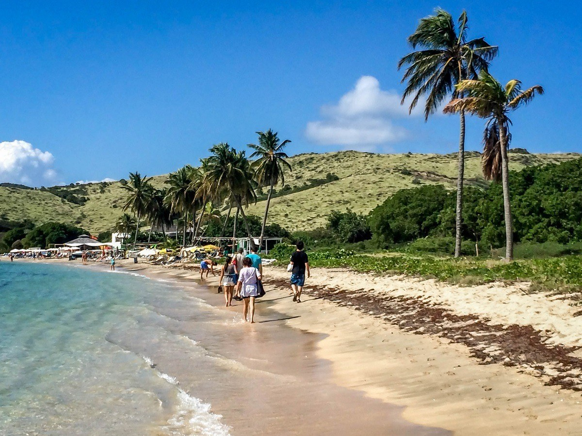 People walking along the beach in St. Kitts