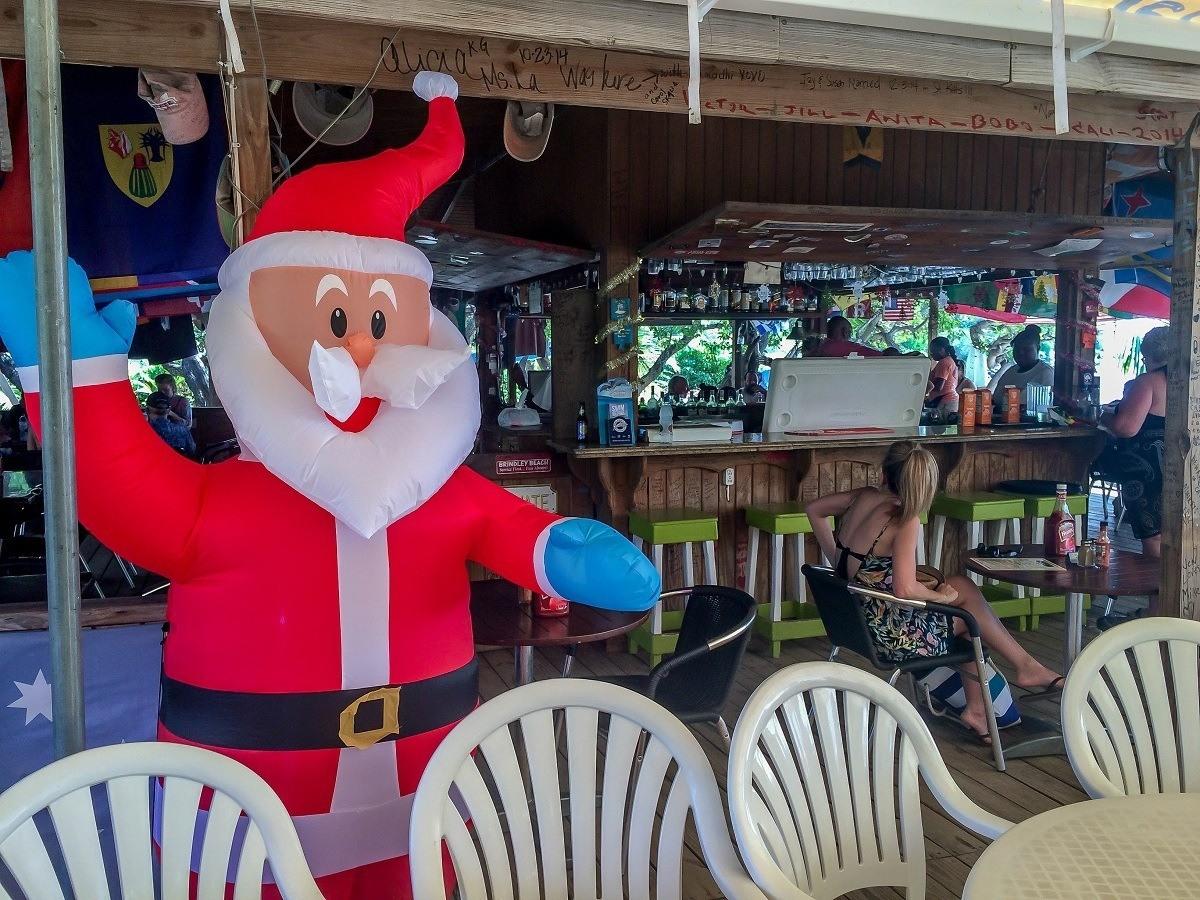 A blow up Santa at the Reggae Beach Bar in St. Kitts