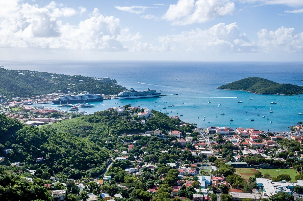 Cruise ships at the Havensight Pier in Charlotte Amalie, St Thomas