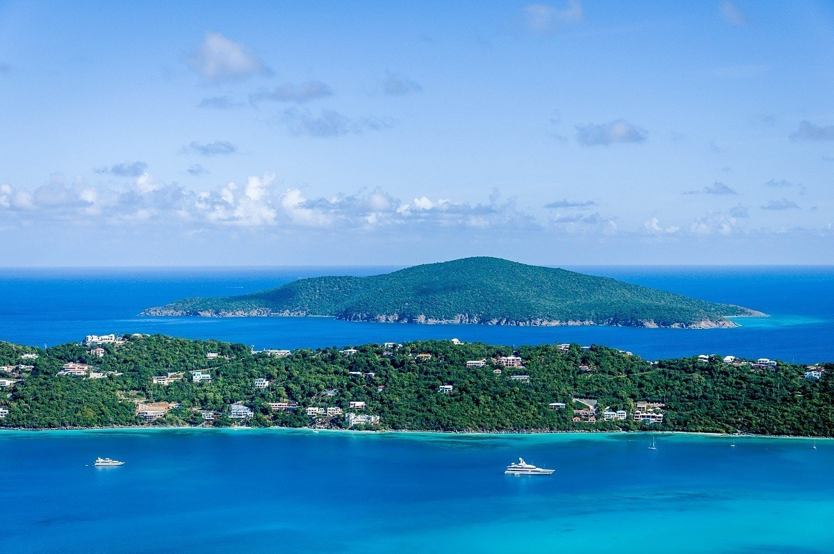 Panoramic view of islands and yachts in the ocean
