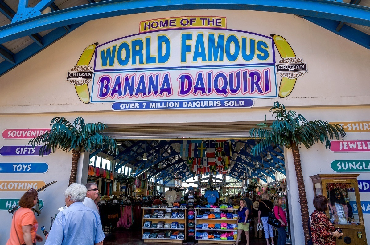 Entrance to a gift shop with a sign: Home of the World Famous Banana Daiquiri; Over 7 Million Daiquiris Sold