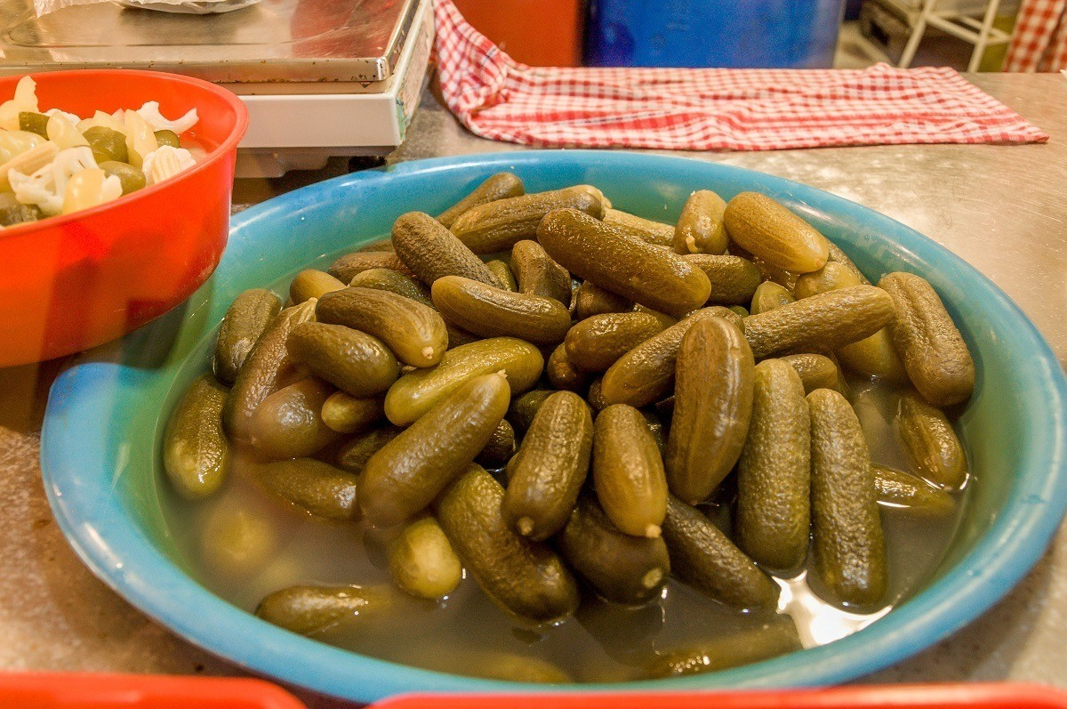 Large container of pickles
