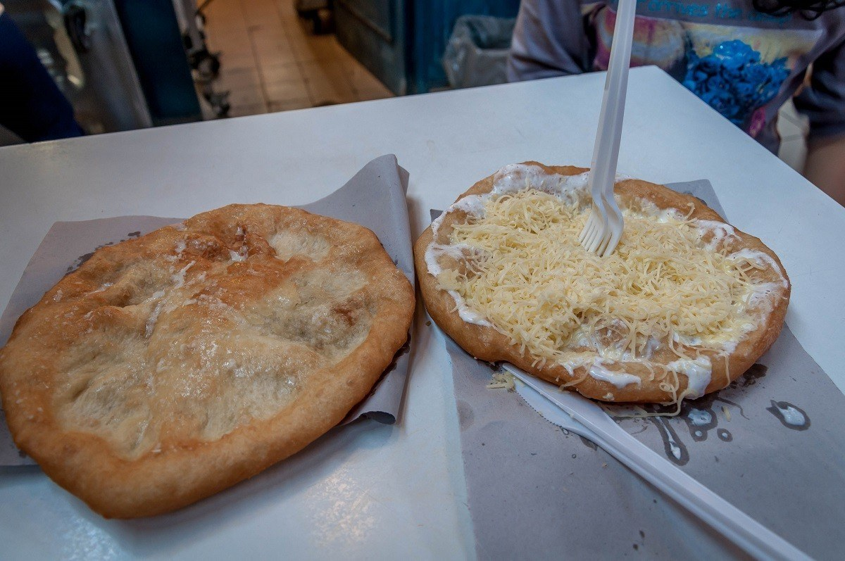 The traditional langos in Budapest