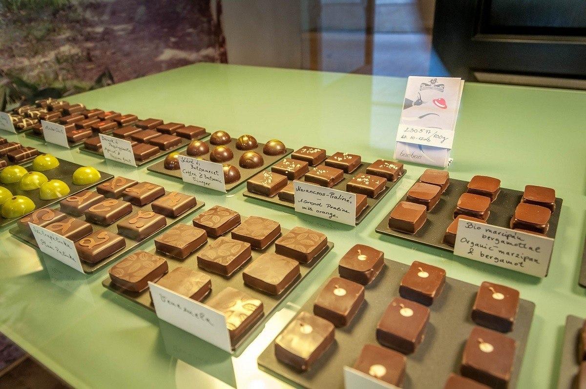 Sampling gourmet chocolates on a Taste Hungary Budapest food tour