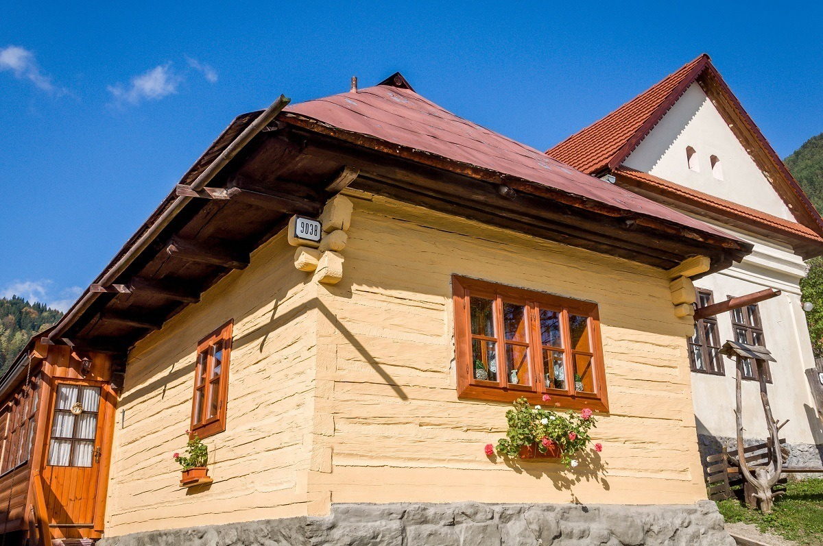 Yellow home in the traditional Vlkolinec village in rural Slovakia