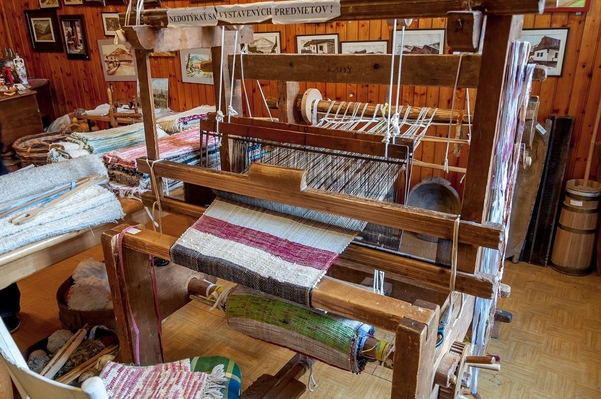 A weaving loom in the Gallery of Folk Art
