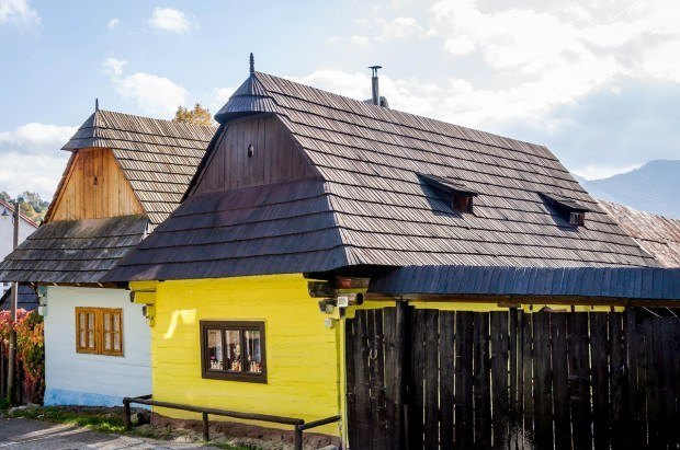 Homes in the village of Vlkolinec, a UNESCO World Heritage Site in Slovakia.