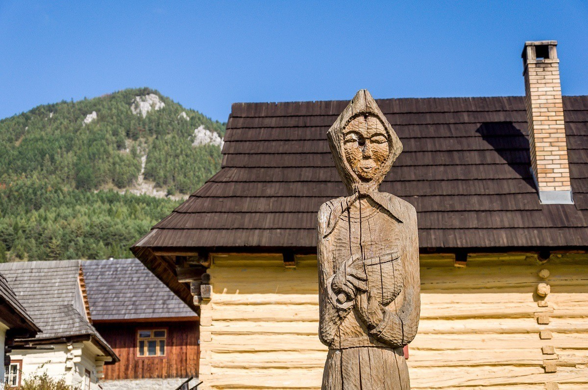 Carved wooden statue in a Slovakian village