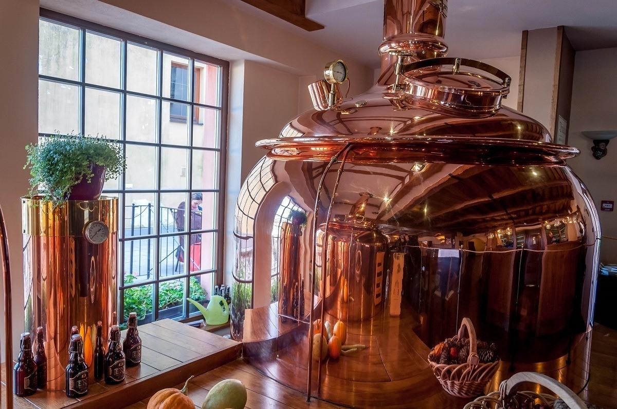 The copper mash tun at ERB Brewery Slovakia