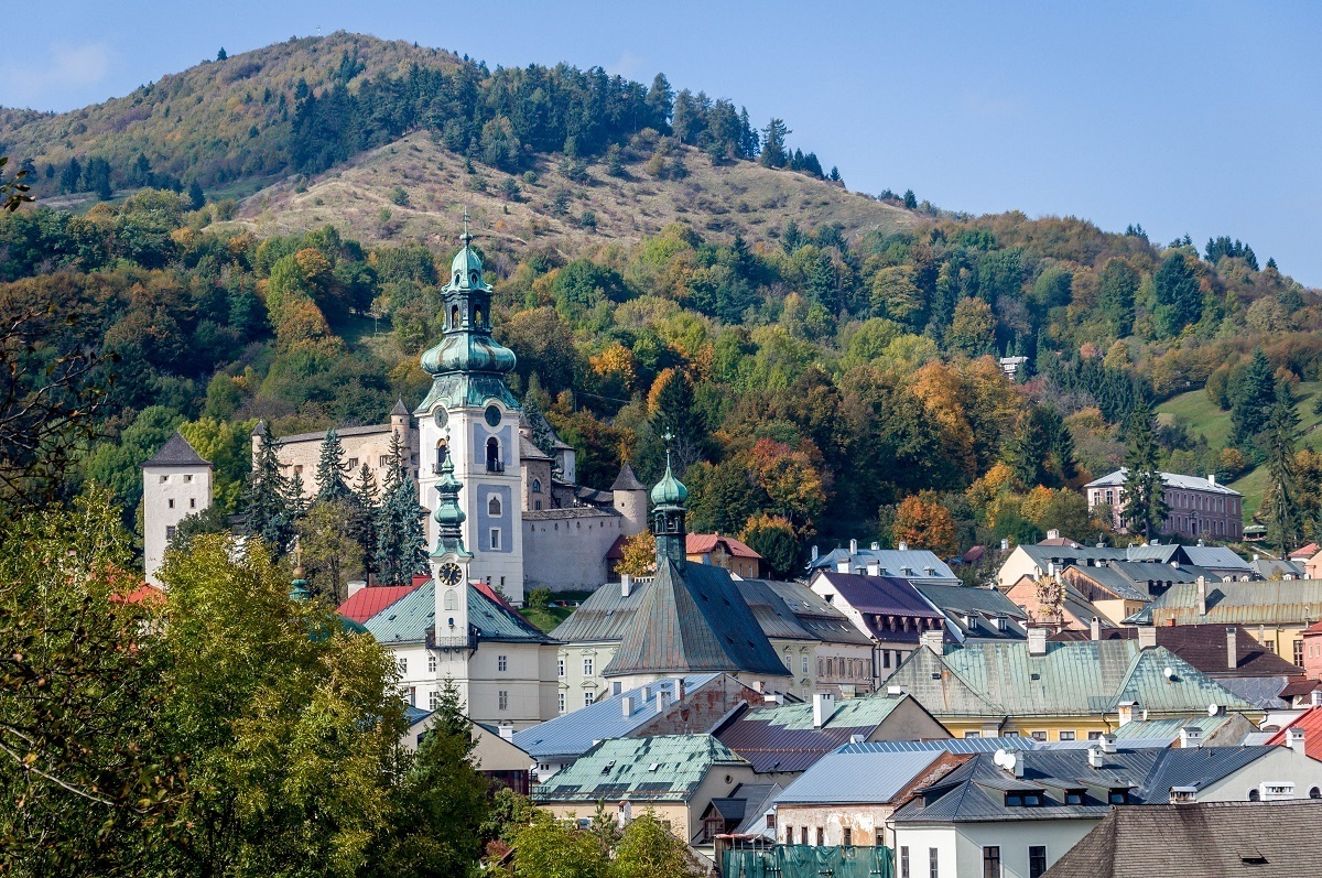 Buildings of Banska Stiavnica at the base of a hill