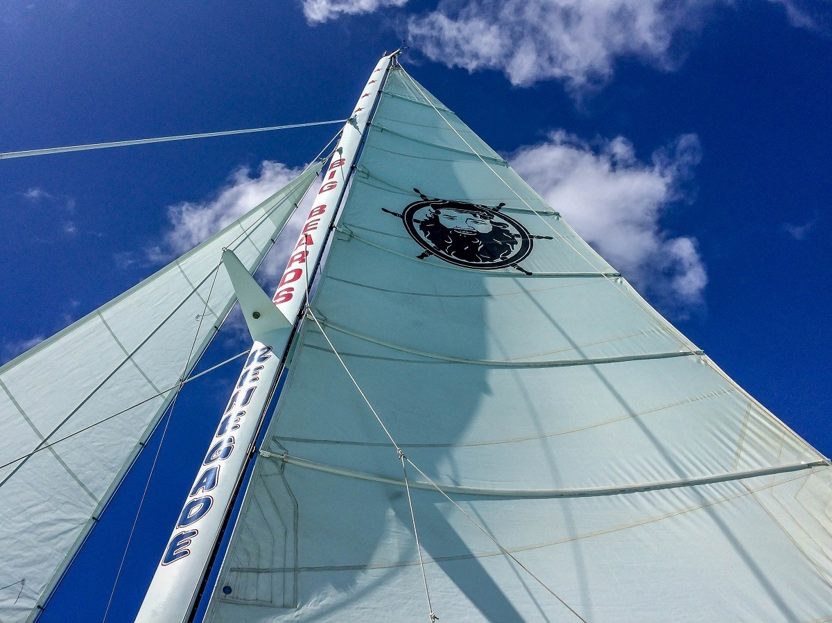 The sail on the Renegade with Big Beards St Croix