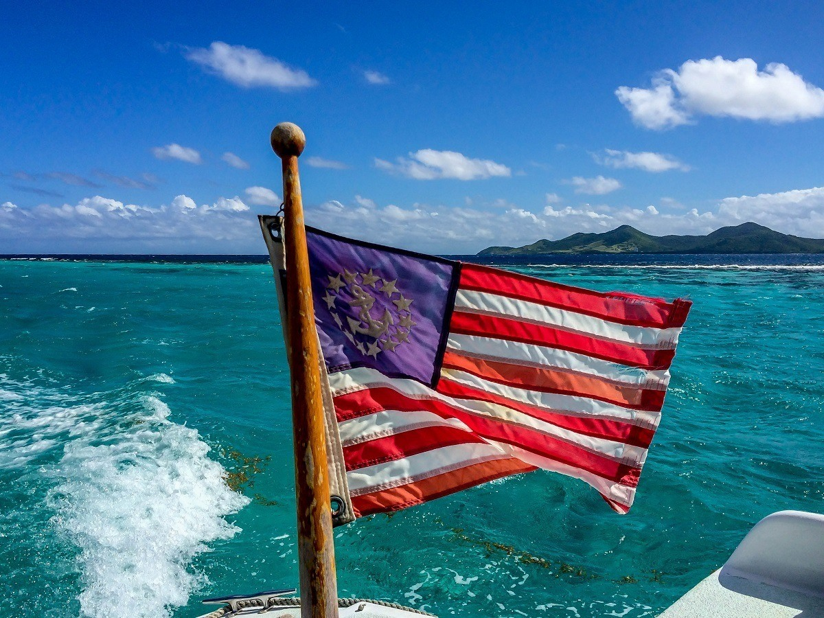 American flag on back of boat