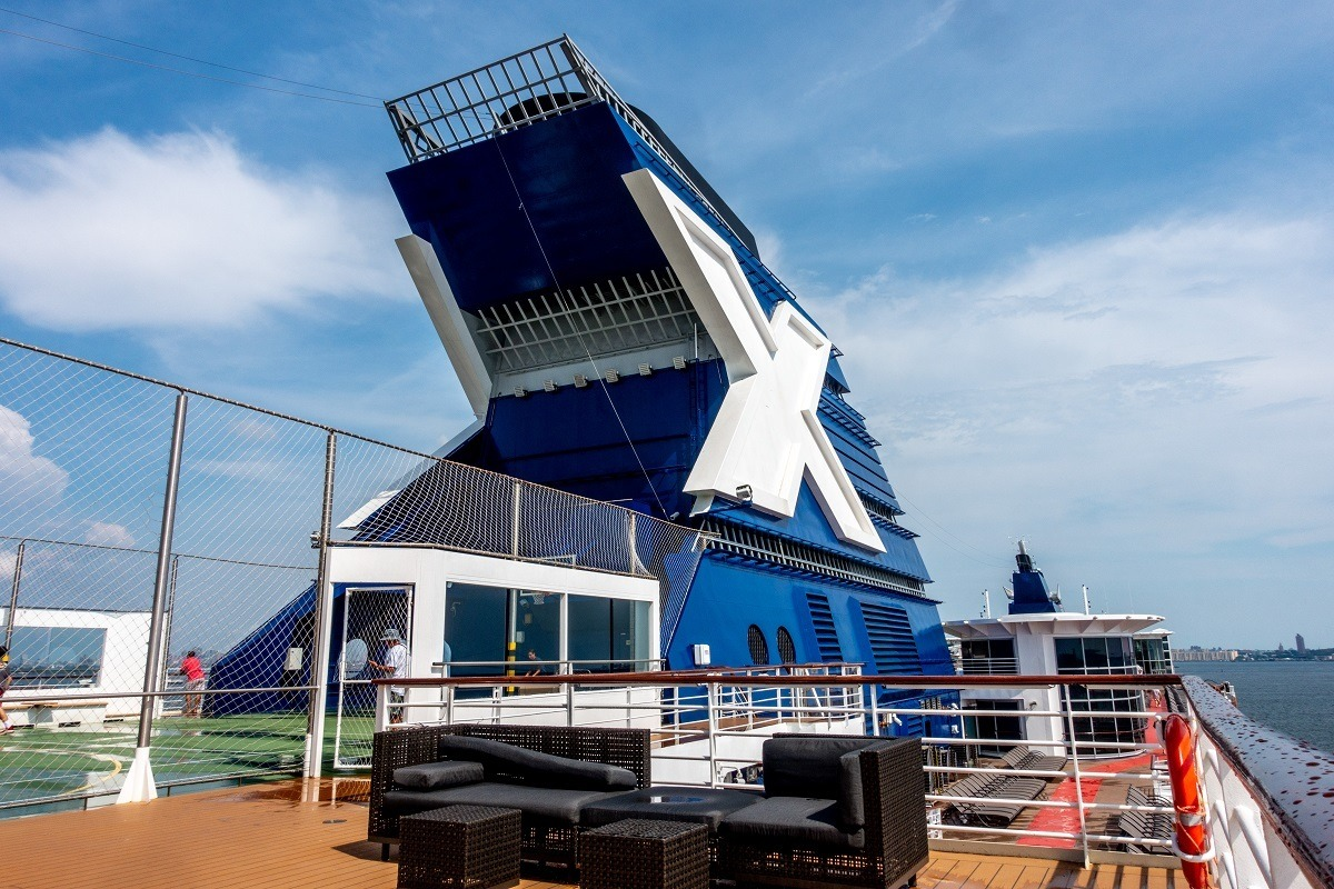 Upper deck of the Celebrity Summit with its signature X