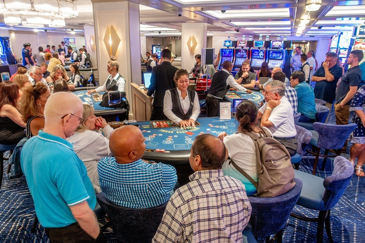 Casino full of people playing card games