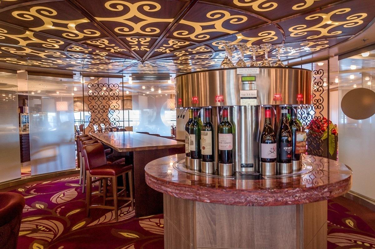 Wine bottles in a dispenser