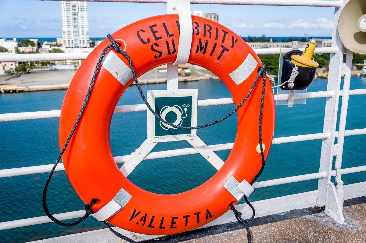 Celebrity Summit orange life preserver on deck