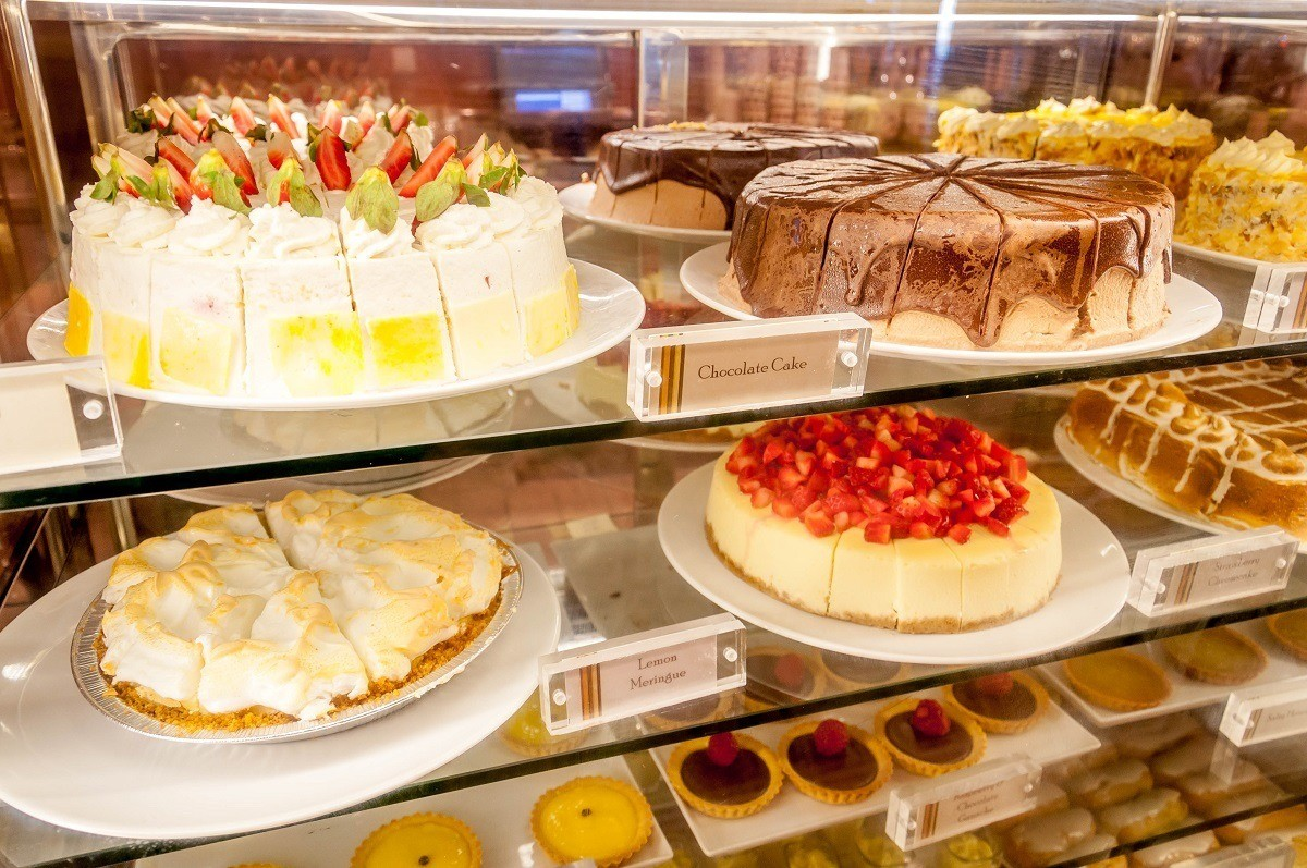 Cakes in a display case
