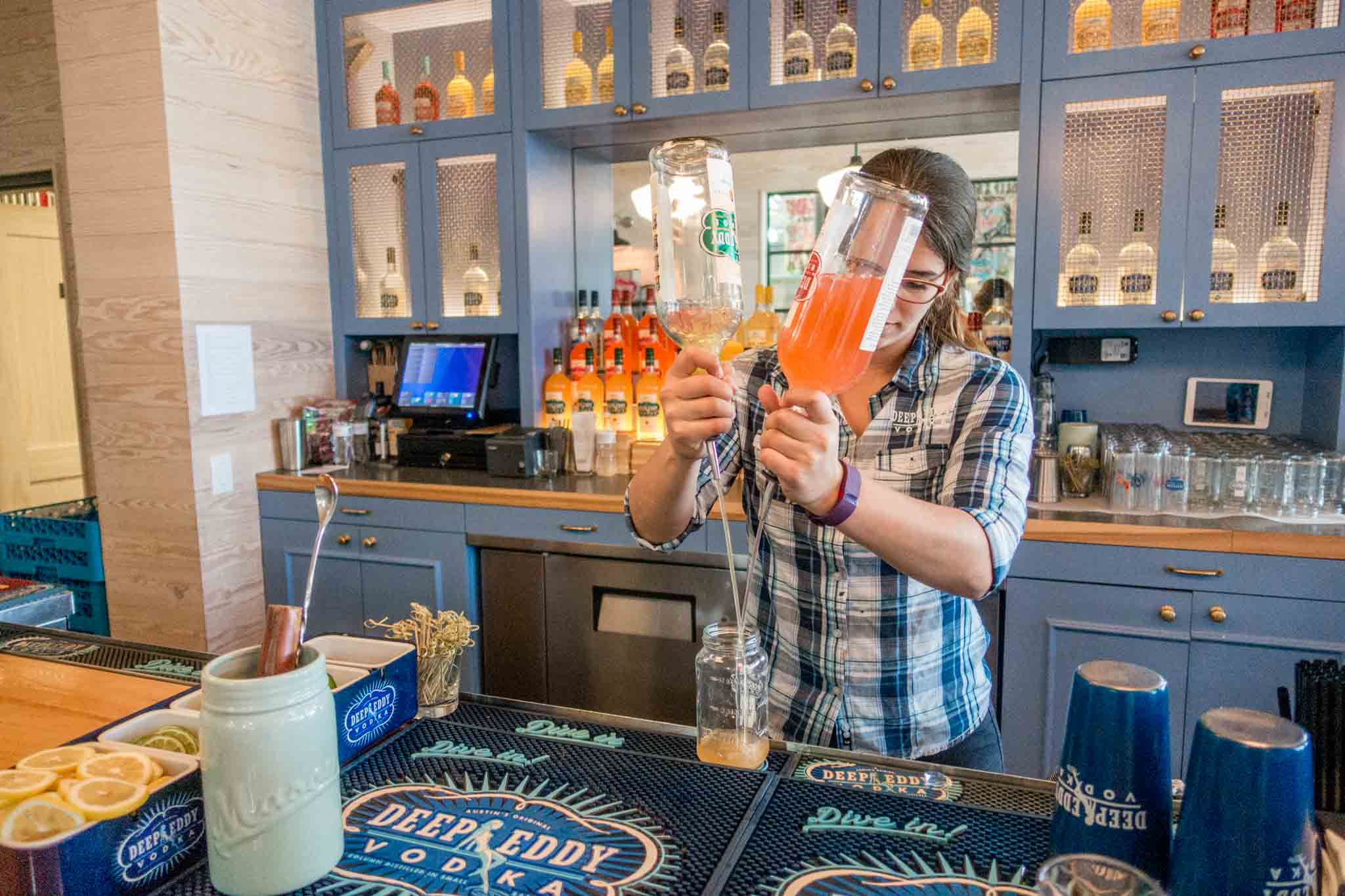 Bartender making a cocktail the bar