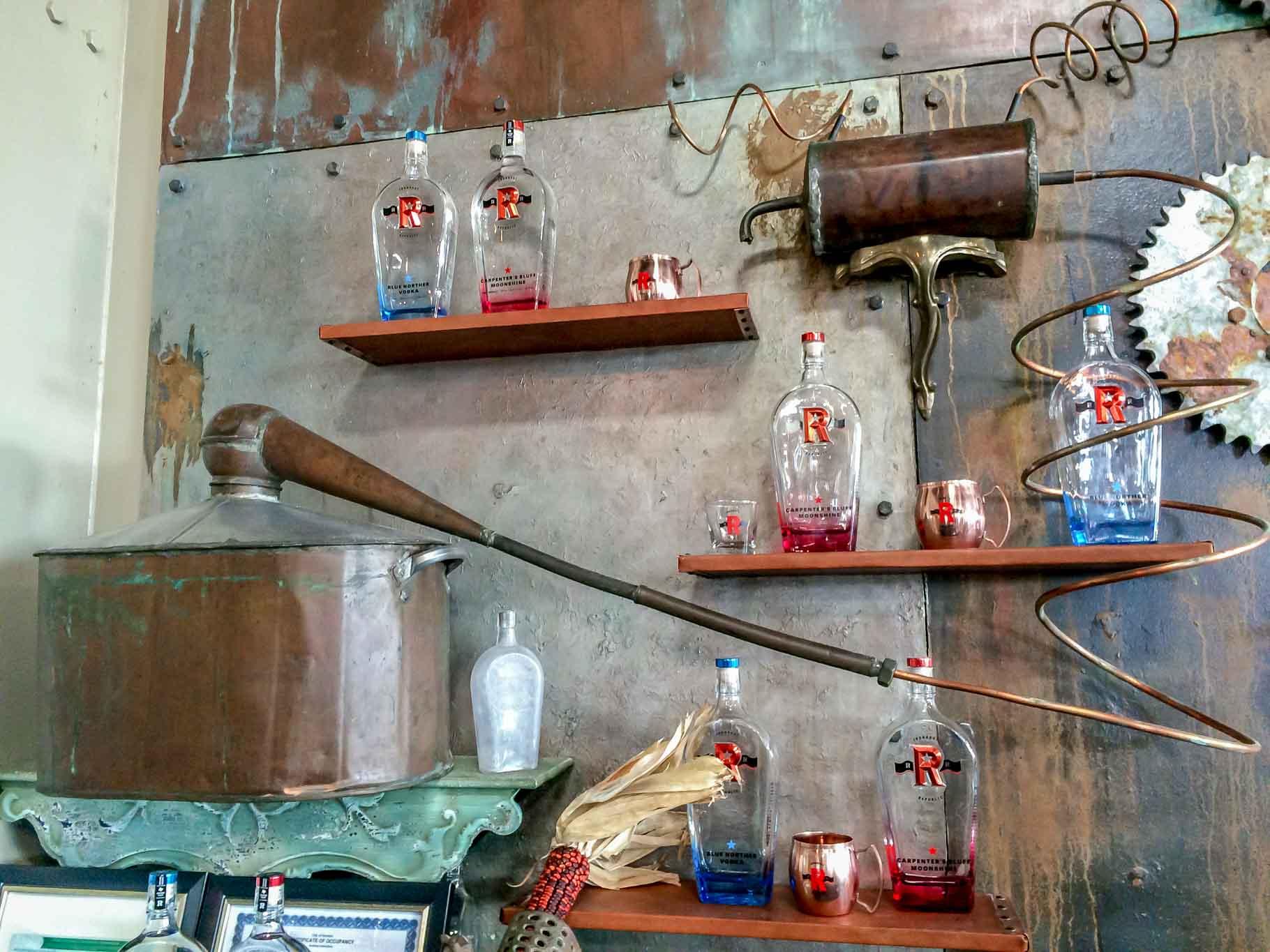 Moonshine and vodka bottles on shelves