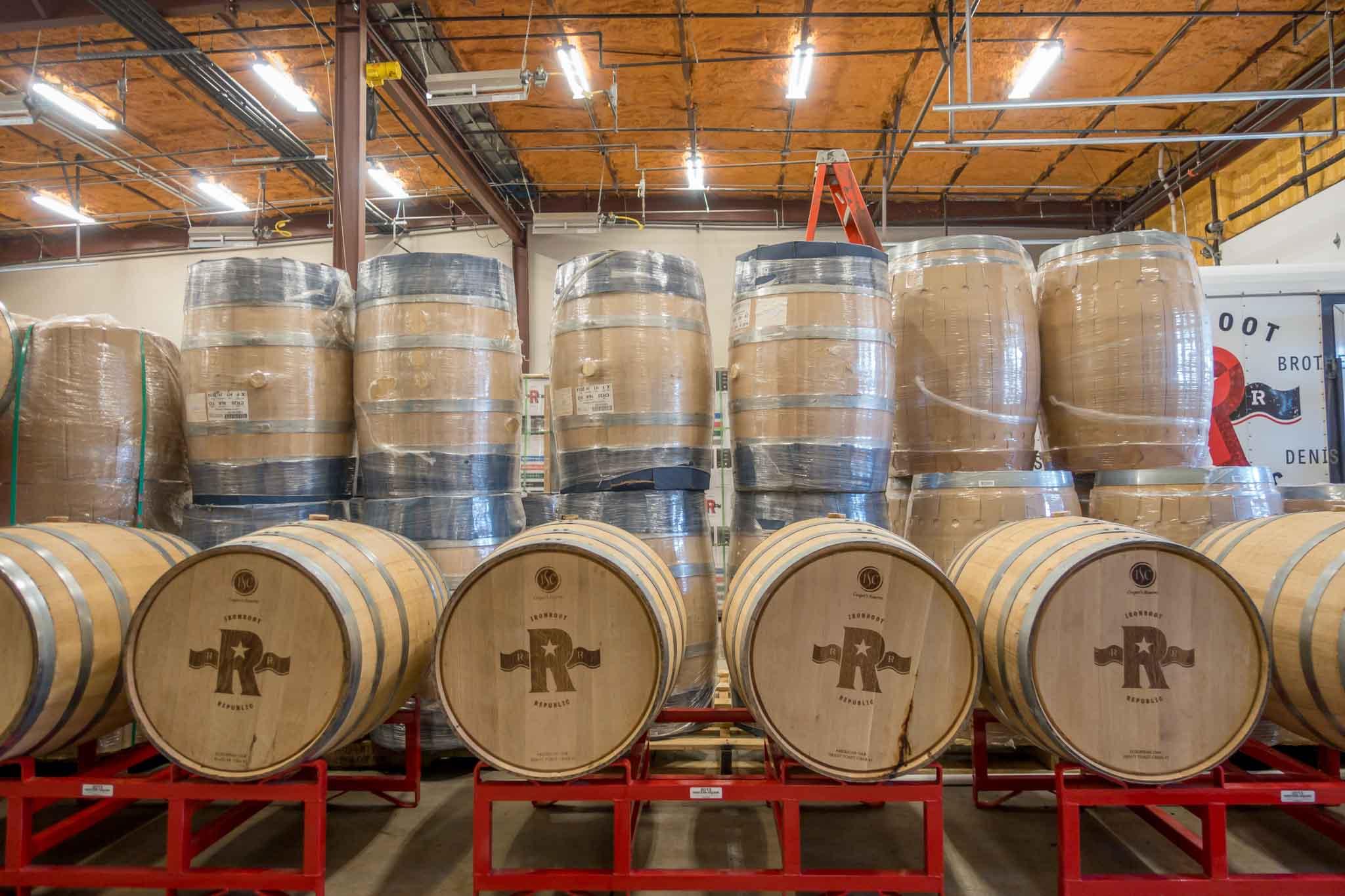 Barrels at Ironroot Republic Distillery in Denison, Texas