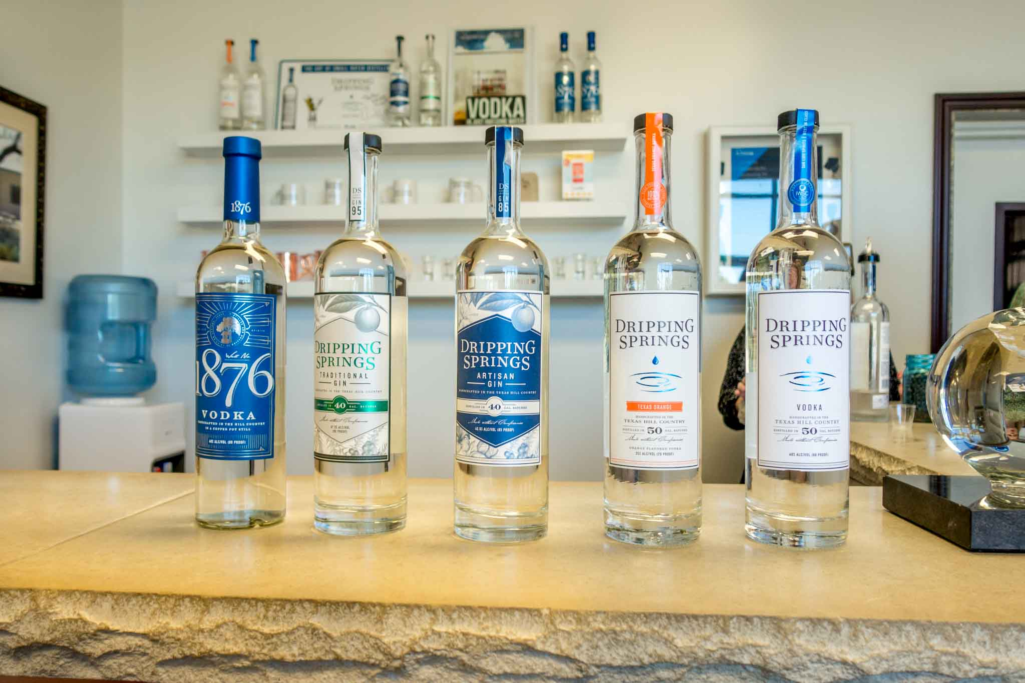 Dripping Springs vodkas and gins in bottles
