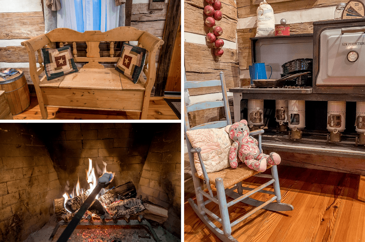 Furniture and roasting marshmallow in fireplace