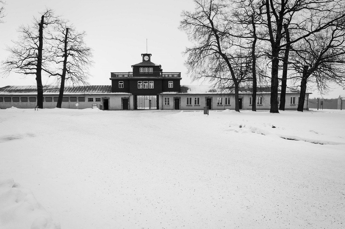 The Buchenwald Concentration Camp in snow