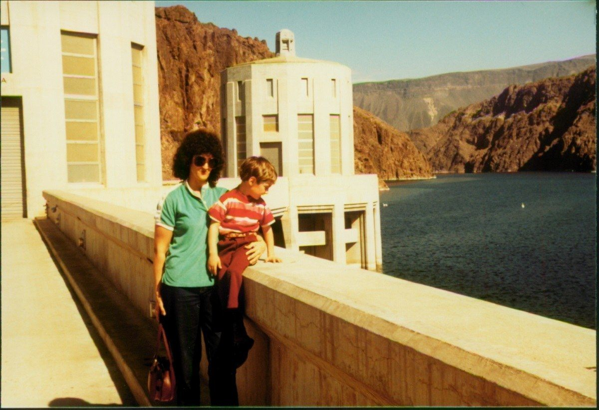 Lance and his mother at the Hoover Dam