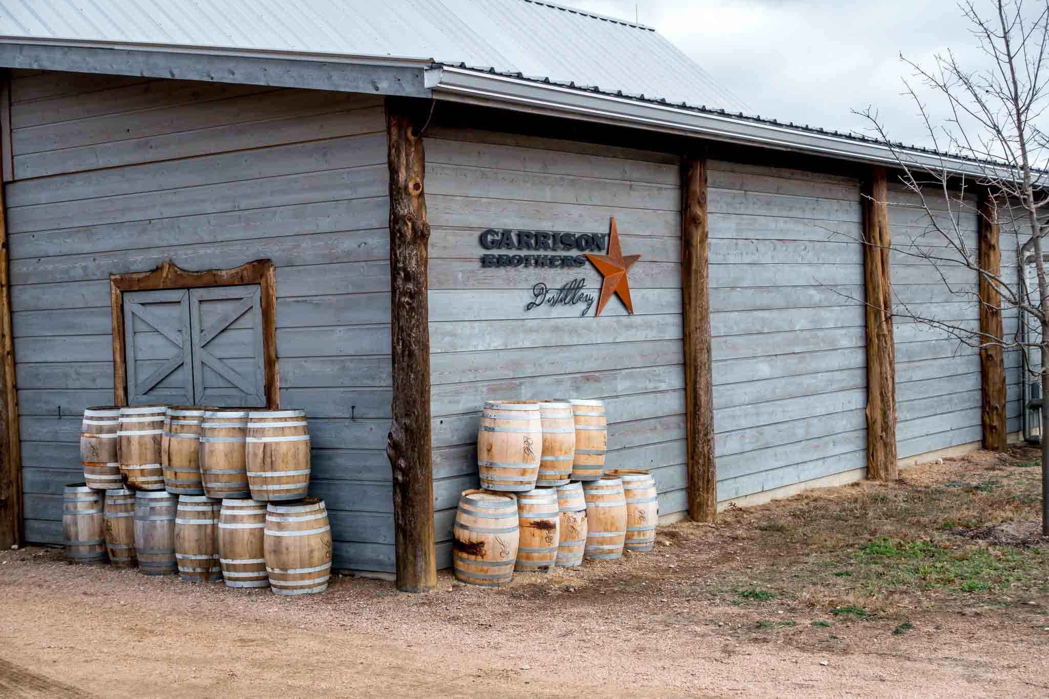 Barn with barrels at Garrison Brothers Distillery