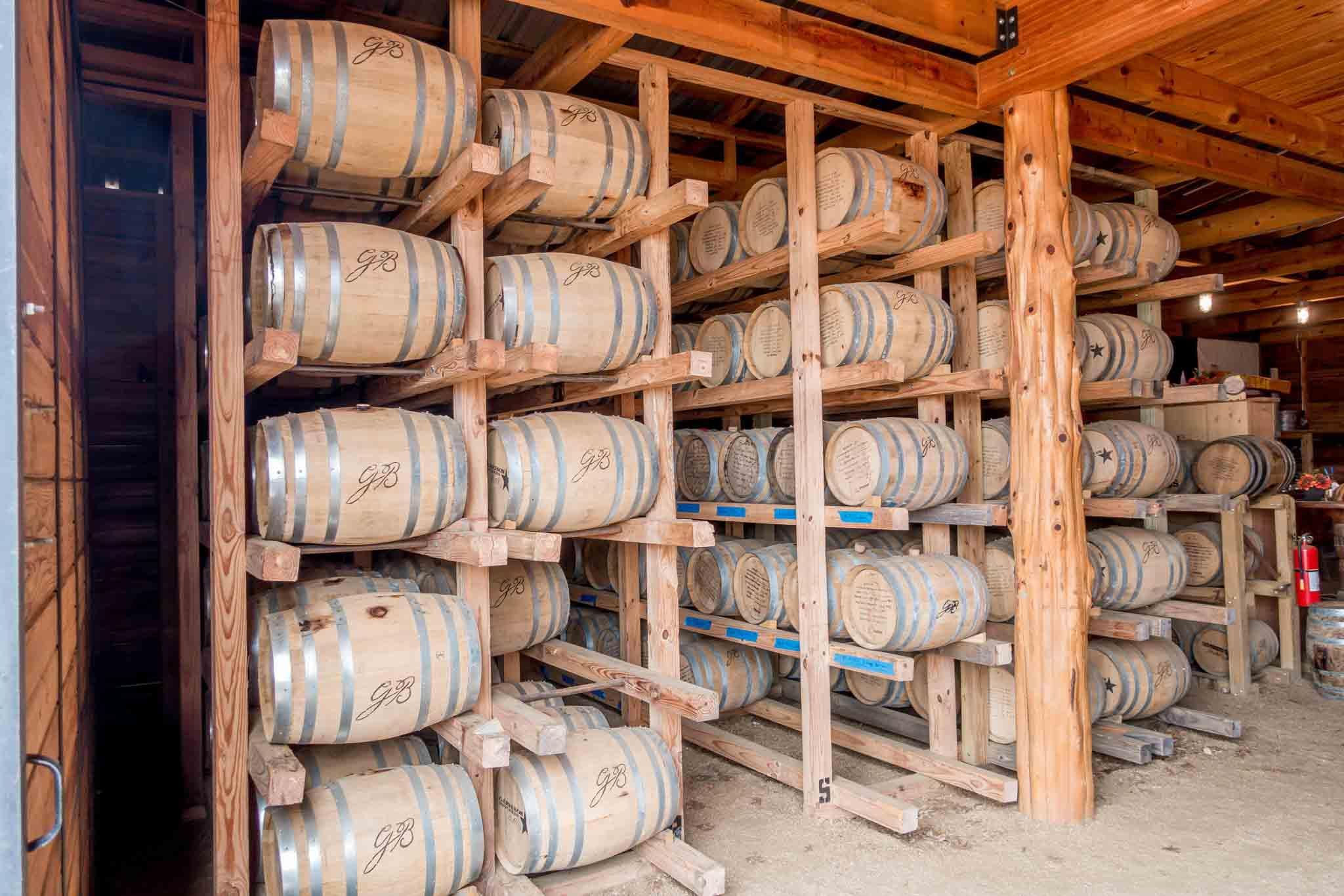 Barrels of aging Texas bourbon
