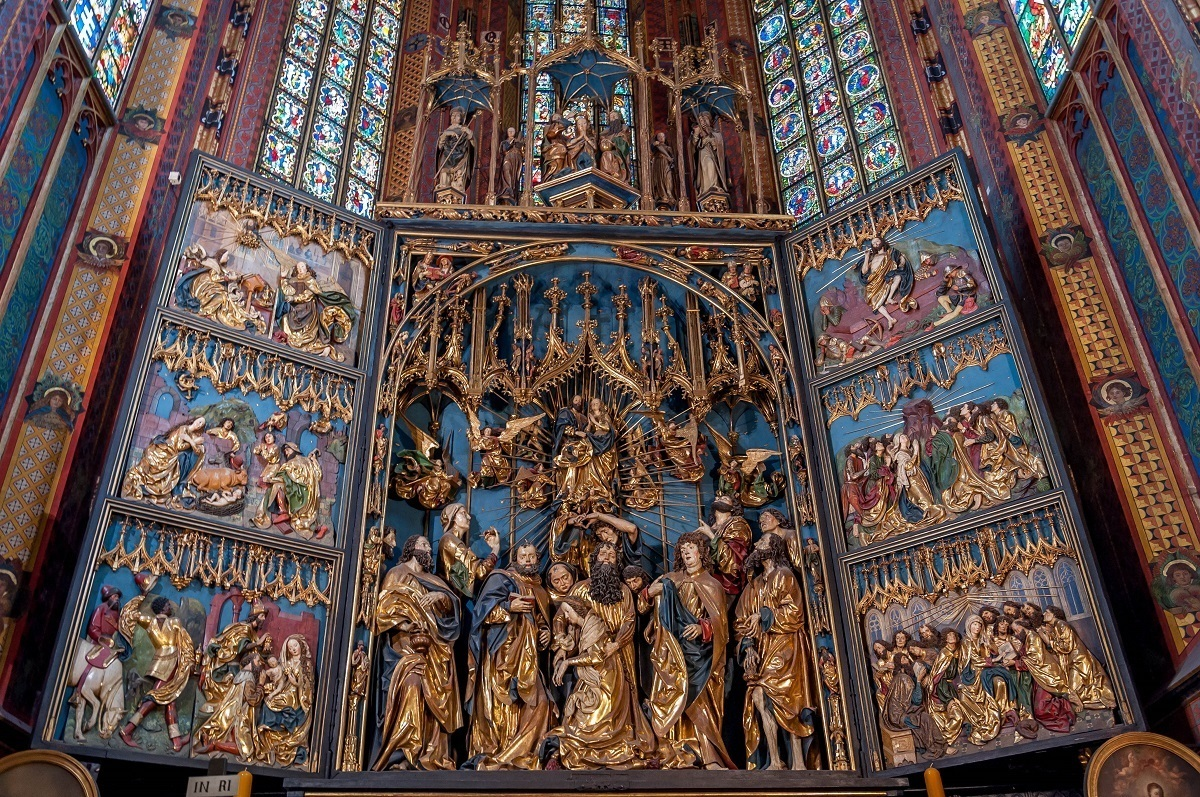 The altar in St. Mary's Basilica in Krakow, Poland