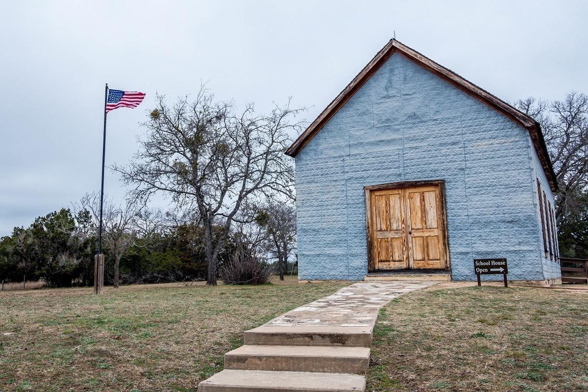 Exterior of one-room schoolhouse