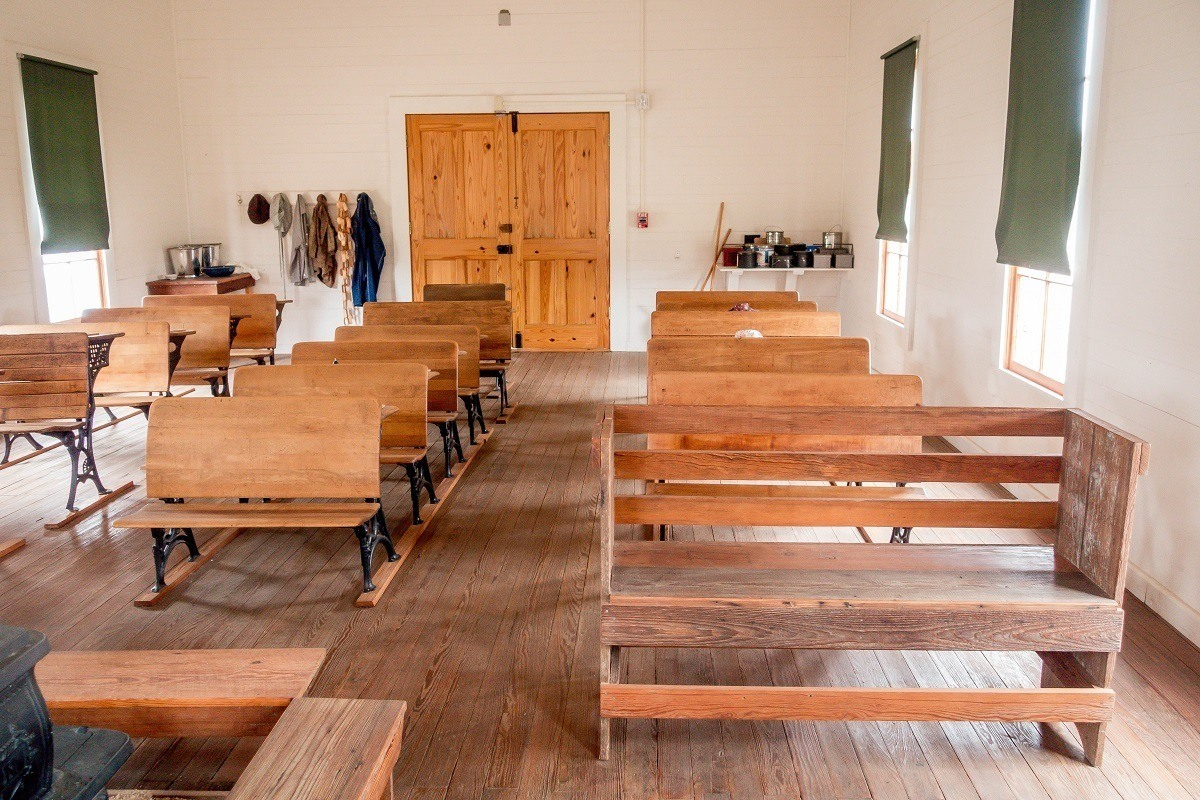 Wooden benches in 1900s schoolhouse