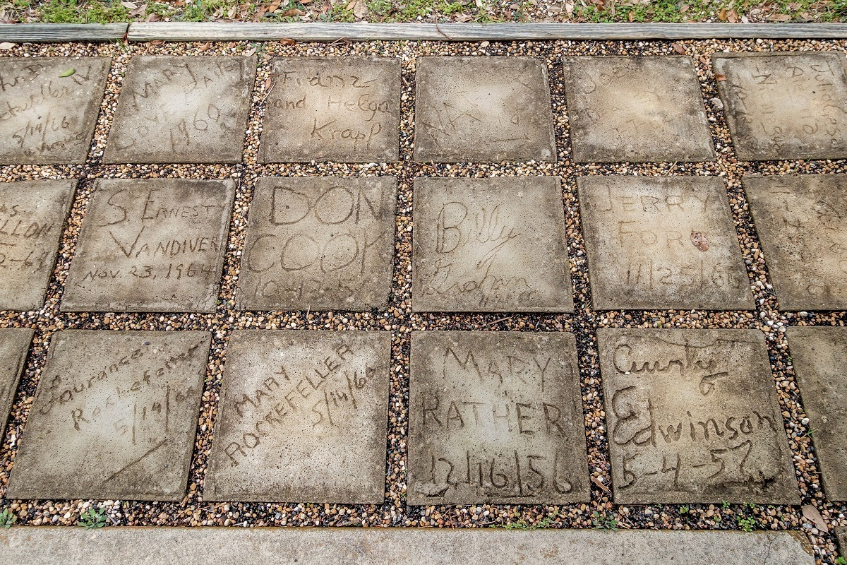 Paving stones signed by the Rockefellers and Billy Graham