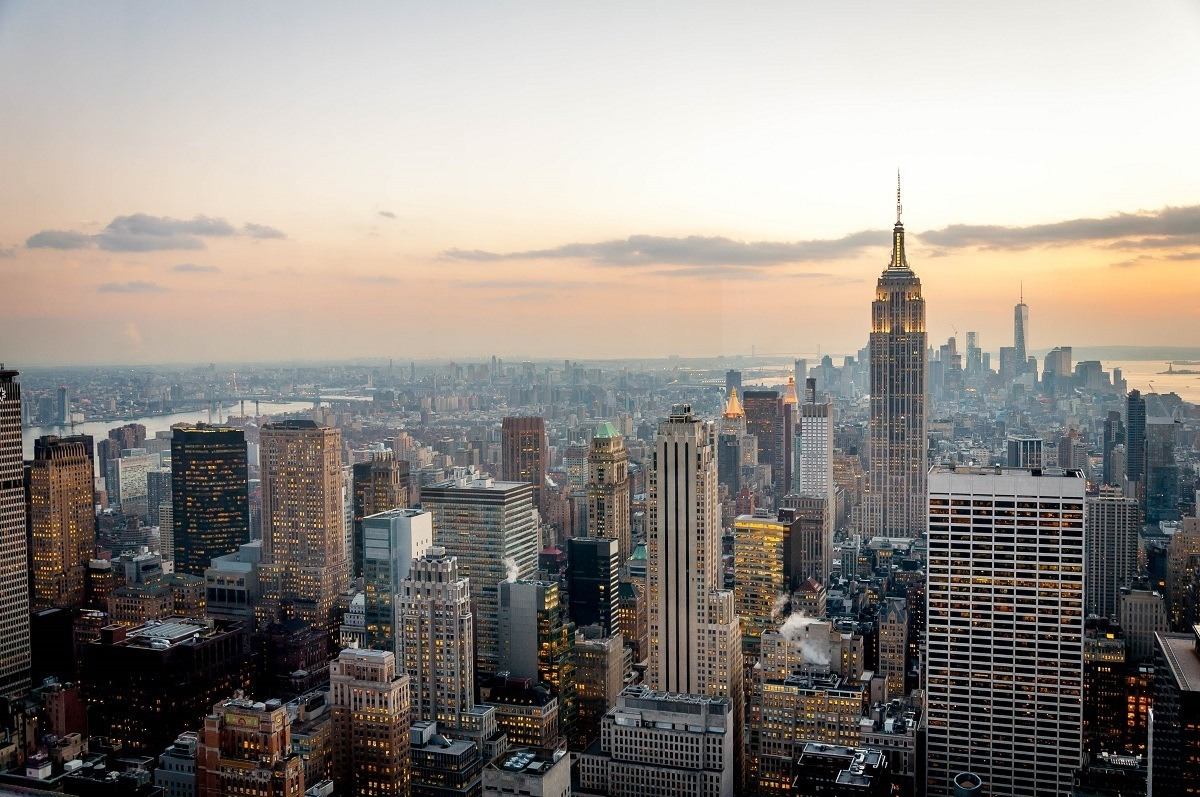 New York City and southern Manhattan as viewed from the Top of the Rock at sunset.