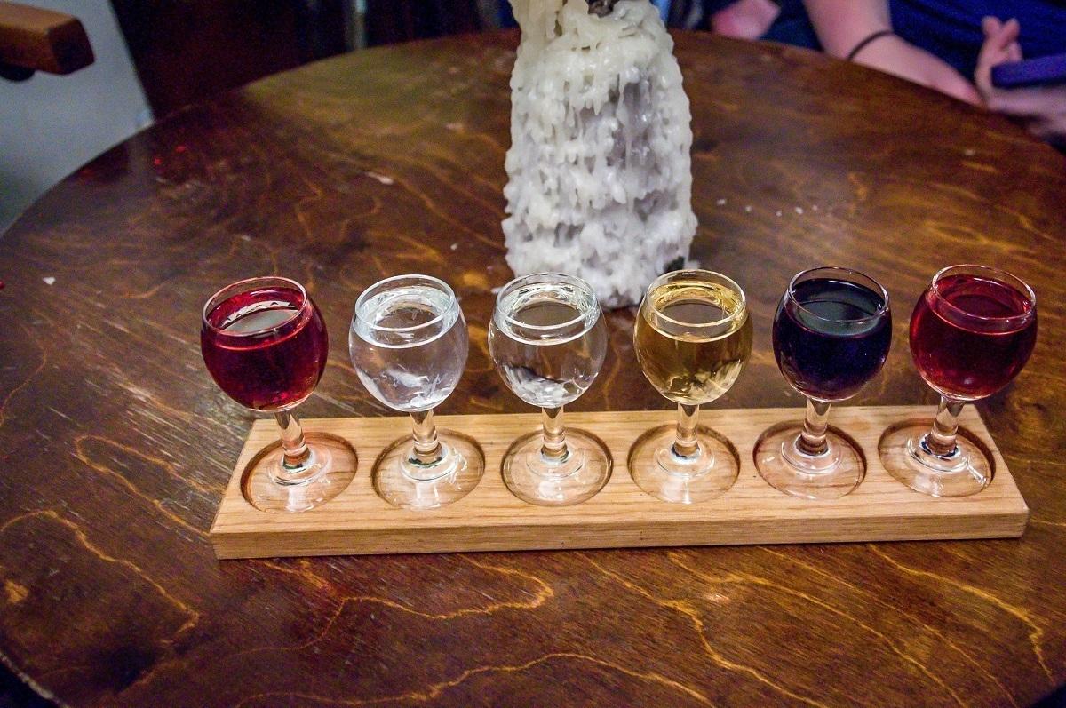 A tasting flight at the Wodka Bar on Krakow vodka tasting tour